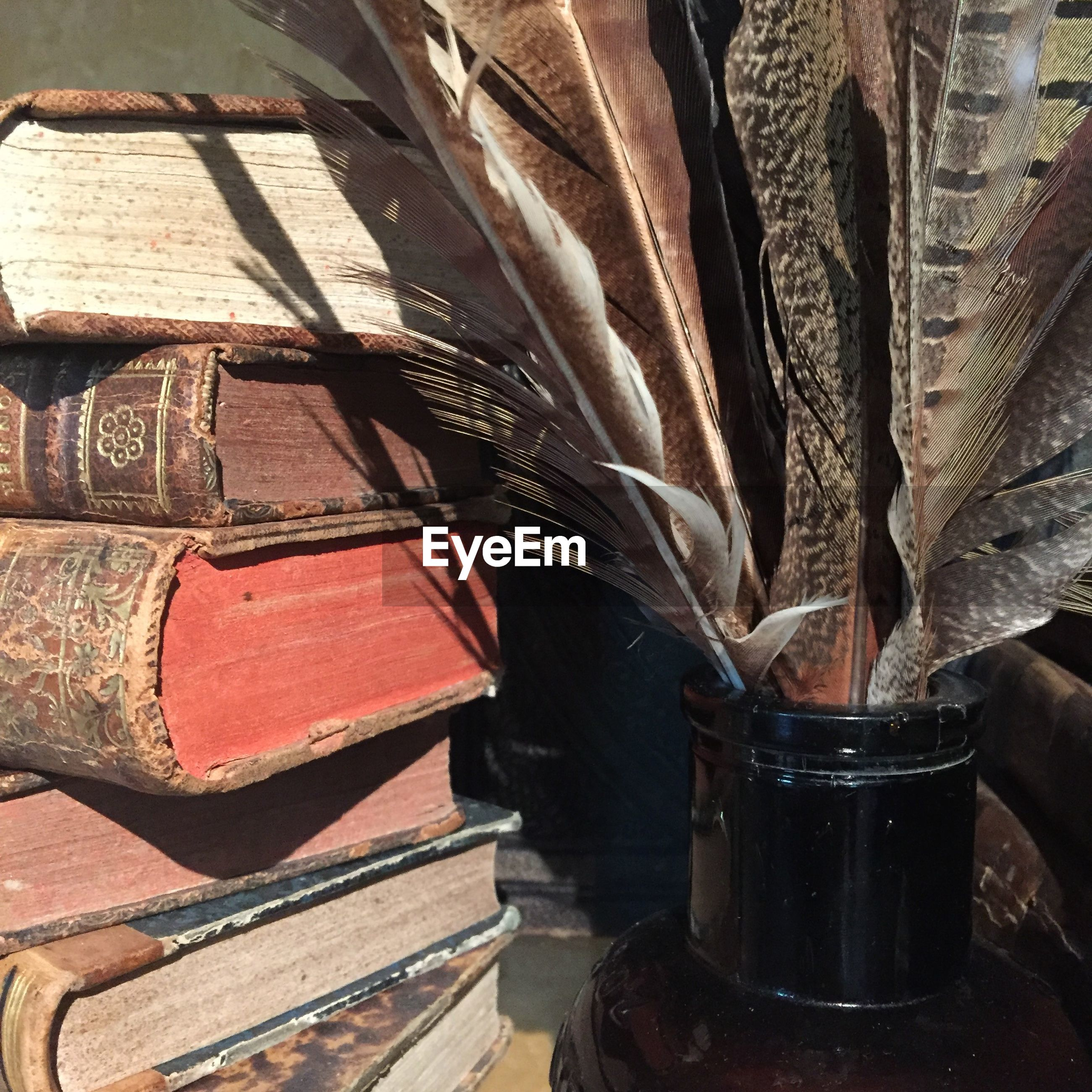 Close-up of stacked books by feather in container on table