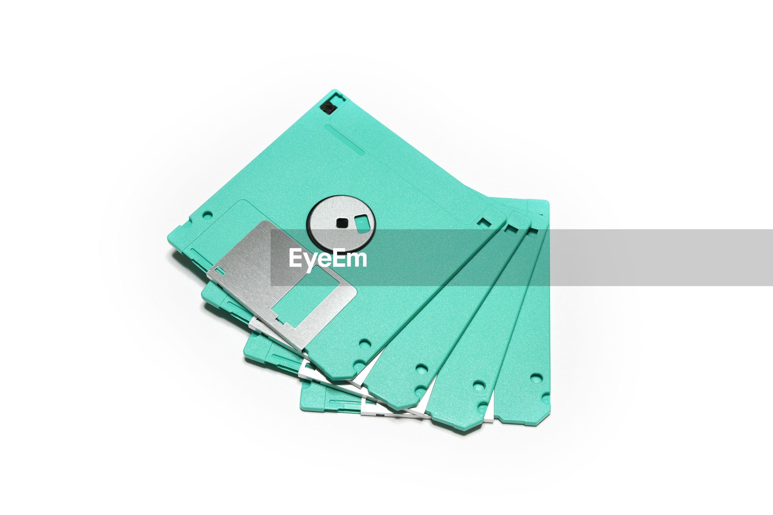Floppy disks against white background