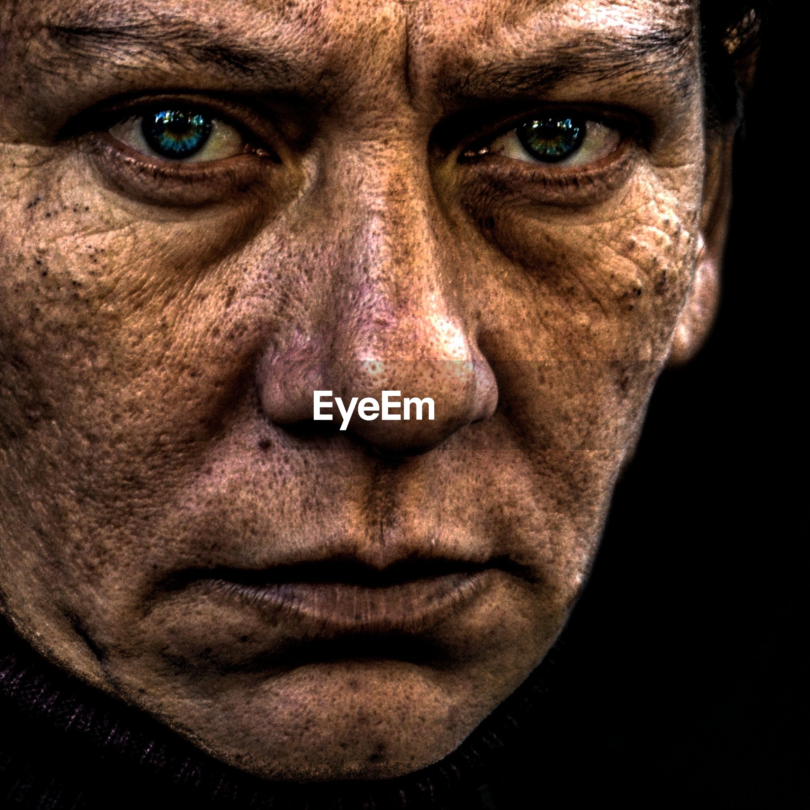 looking at camera, portrait, one man only, human face, adults only, only men, human body part, one person, close-up, adult, men, people, body paint, stage make-up, bruise, beaten up