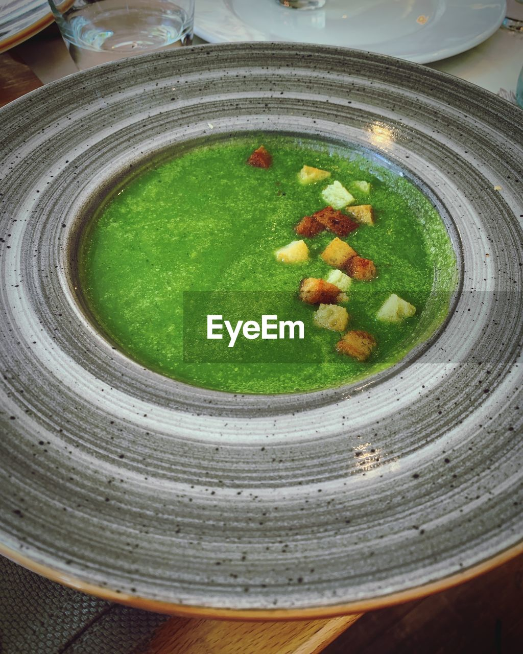 food and drink, food, freshness, wellbeing, healthy eating, ready-to-eat, vegetable, indoors, soup, bowl, no people, high angle view, plate, close-up, still life, asian food, green color, preparation, serving size, garnish, soup bowl, vegetarian food, vegetable soup