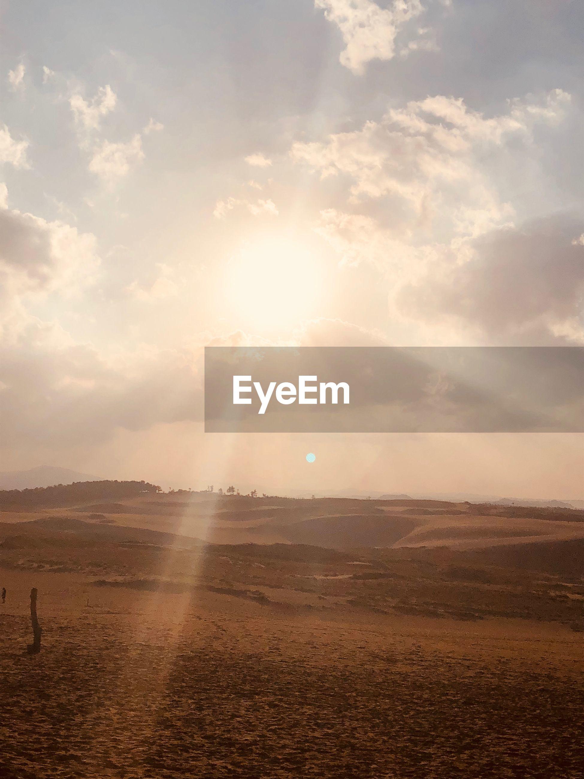 SCENIC VIEW OF BRIGHT SUN OVER FIELD