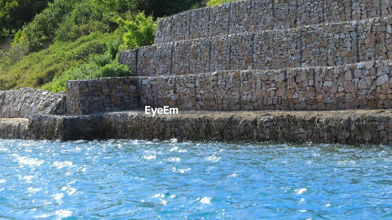 VIEW OF WALL BY SWIMMING POOL