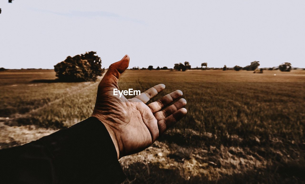Cropped Hand Of Man Gesturing Against Landscape