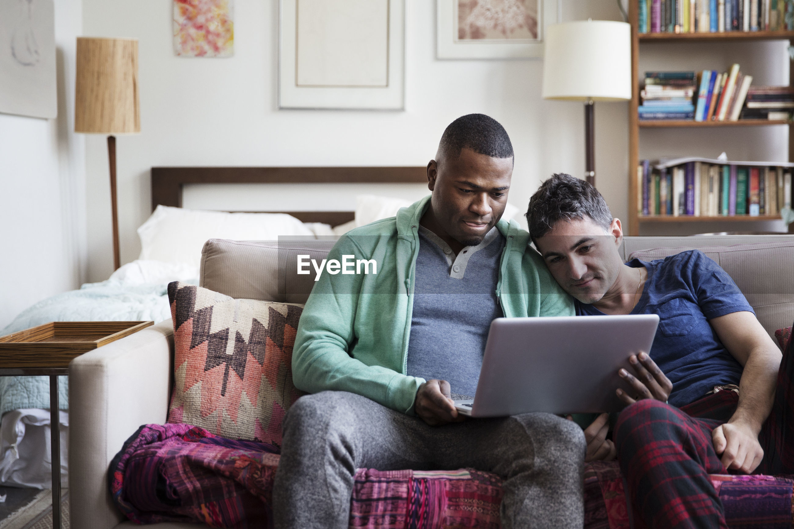 Multi-ethnic homosexual males using laptop on sofa at home