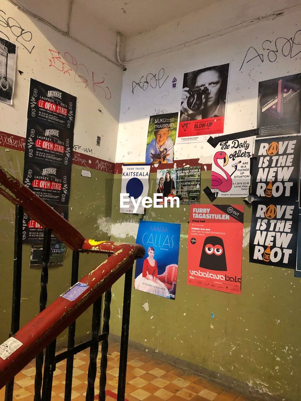 communication, text, no people, indoors, western script, architecture, multi colored, sign, wall - building feature, built structure, railing, graffiti, creativity, art and craft, poster, education, safety, barrier, metal, message, ceiling