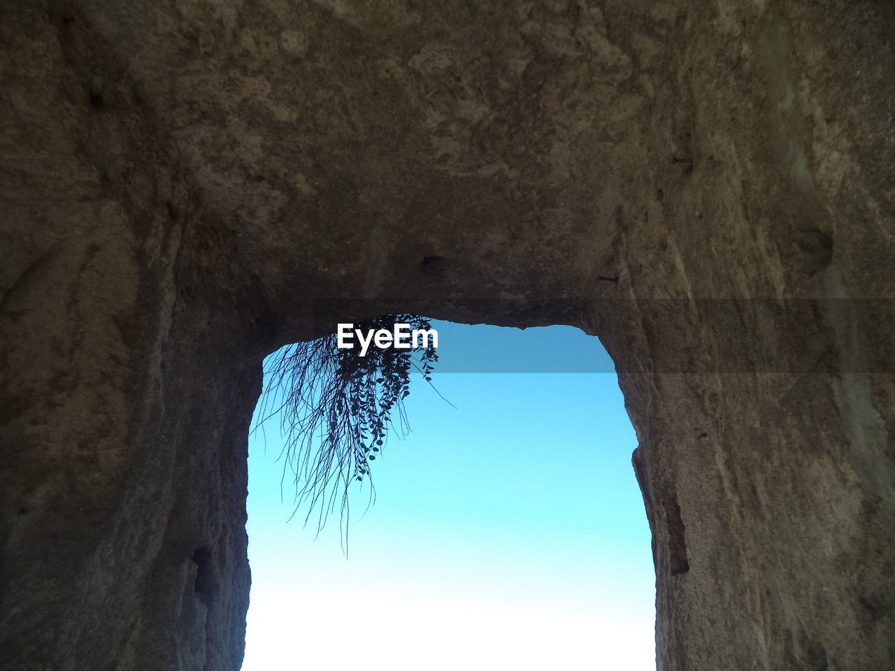 nature, low angle view, day, beauty in nature, natural arch, blue, no people, outdoors, tree, sky