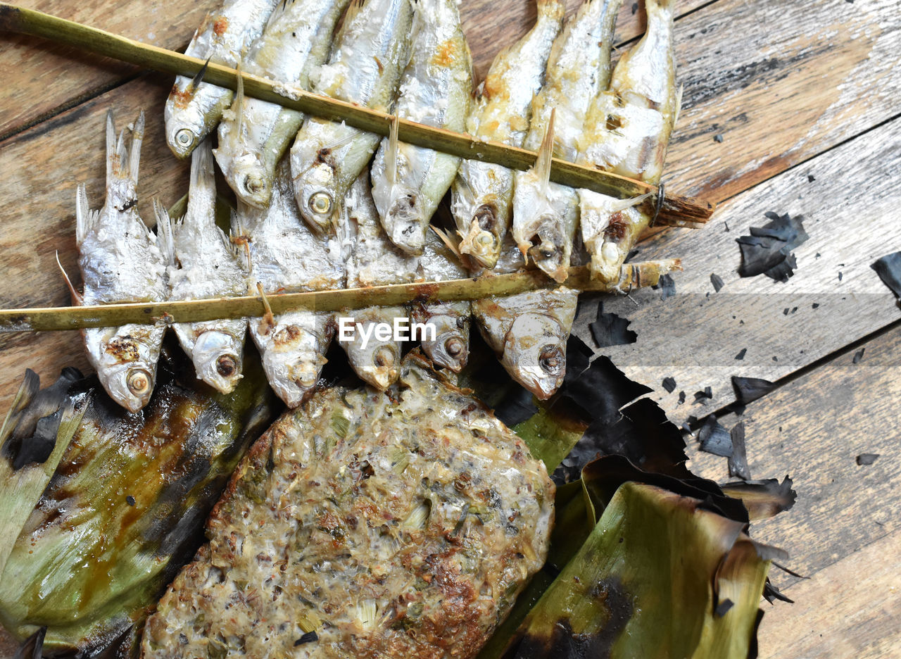 high angle view, no people, food, animal, food and drink, vertebrate, wood - material, indoors, day, freshness, fish, close-up, seafood, metal, still life, architecture, animal themes, wellbeing