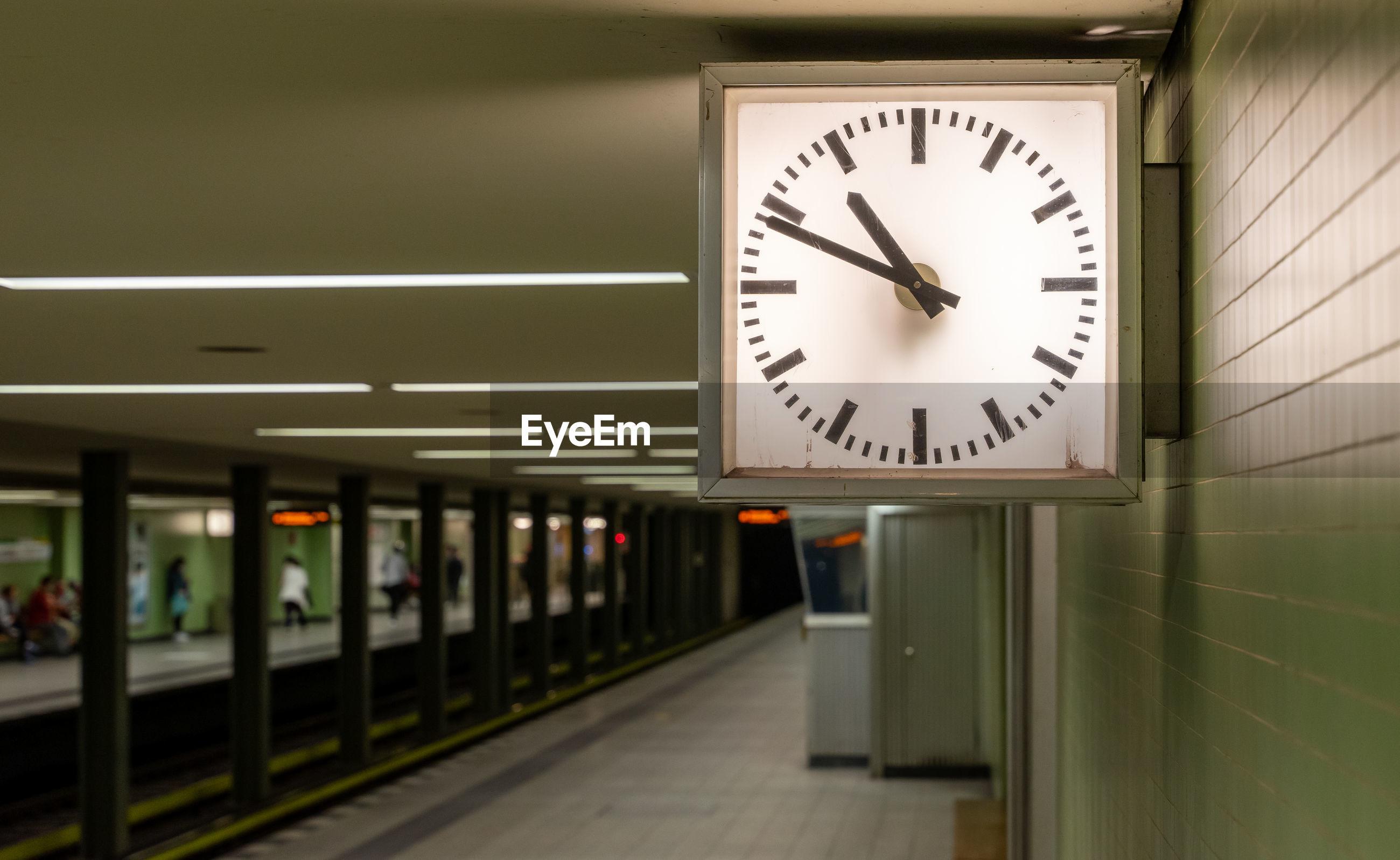 ILLUMINATED CLOCK ON RAILROAD STATION