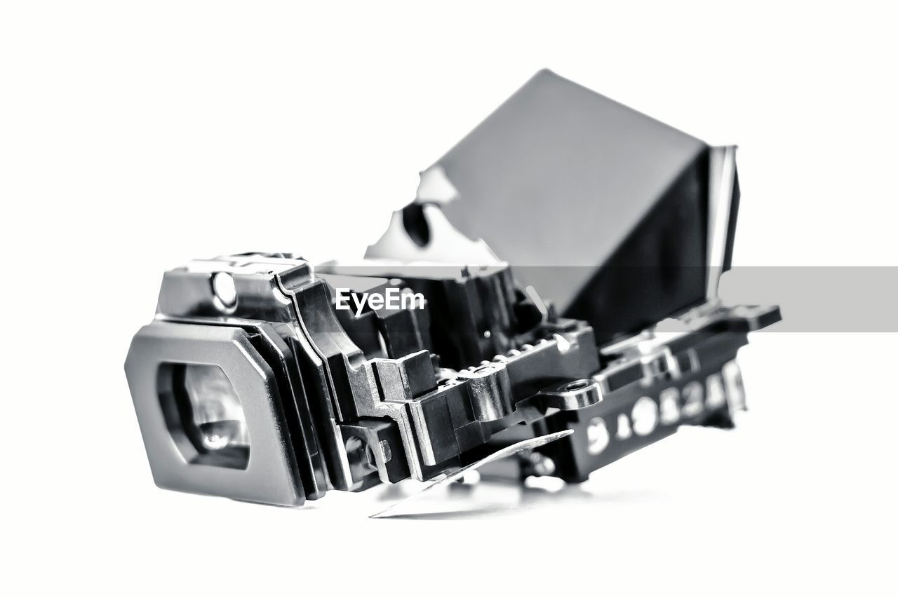 Close-up of digital viewfinder over white background