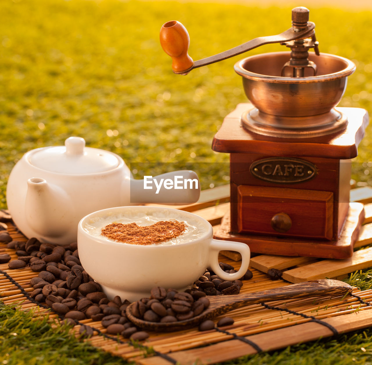 food and drink, table, cup, wood - material, no people, coffee, drink, still life, teapot, container, mug, coffee - drink, food, roasted coffee bean, plant, freshness, close-up, refreshment, coffee cup, day, crockery