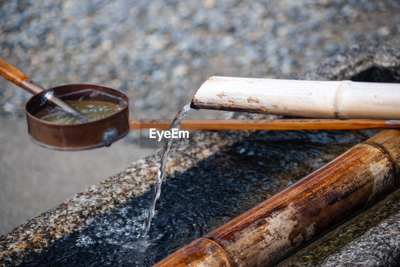 High angle view of running water from bamboo