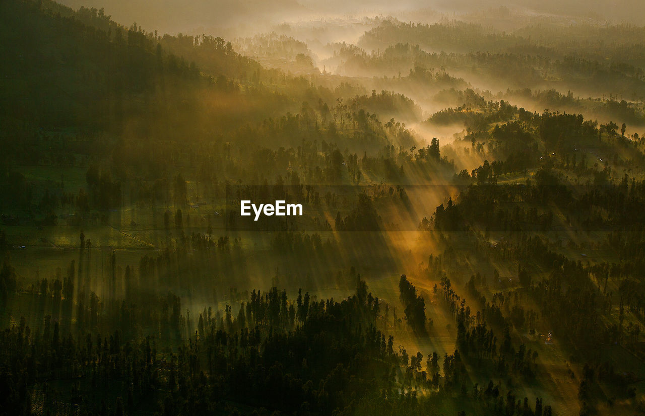 High angle view of landscape in foggy weather during sunrise