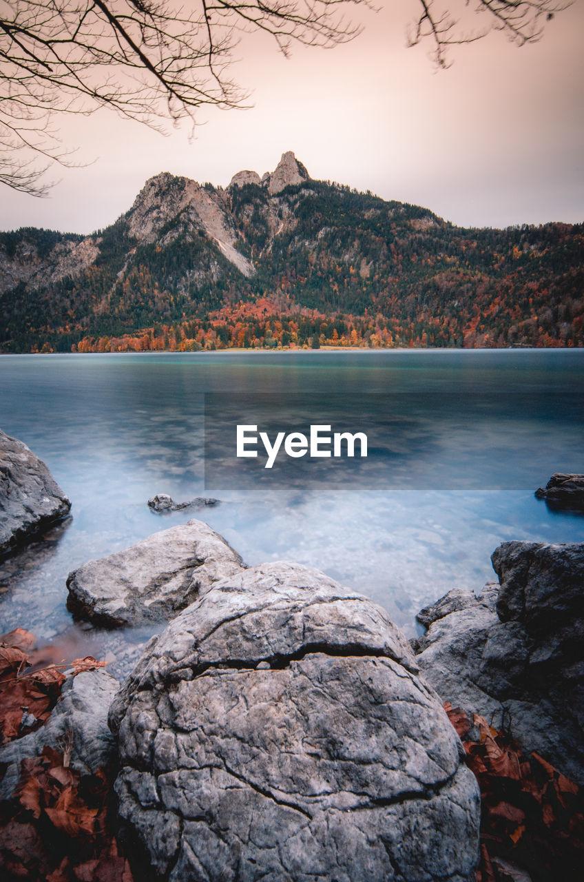 A long exposure of an alp lake