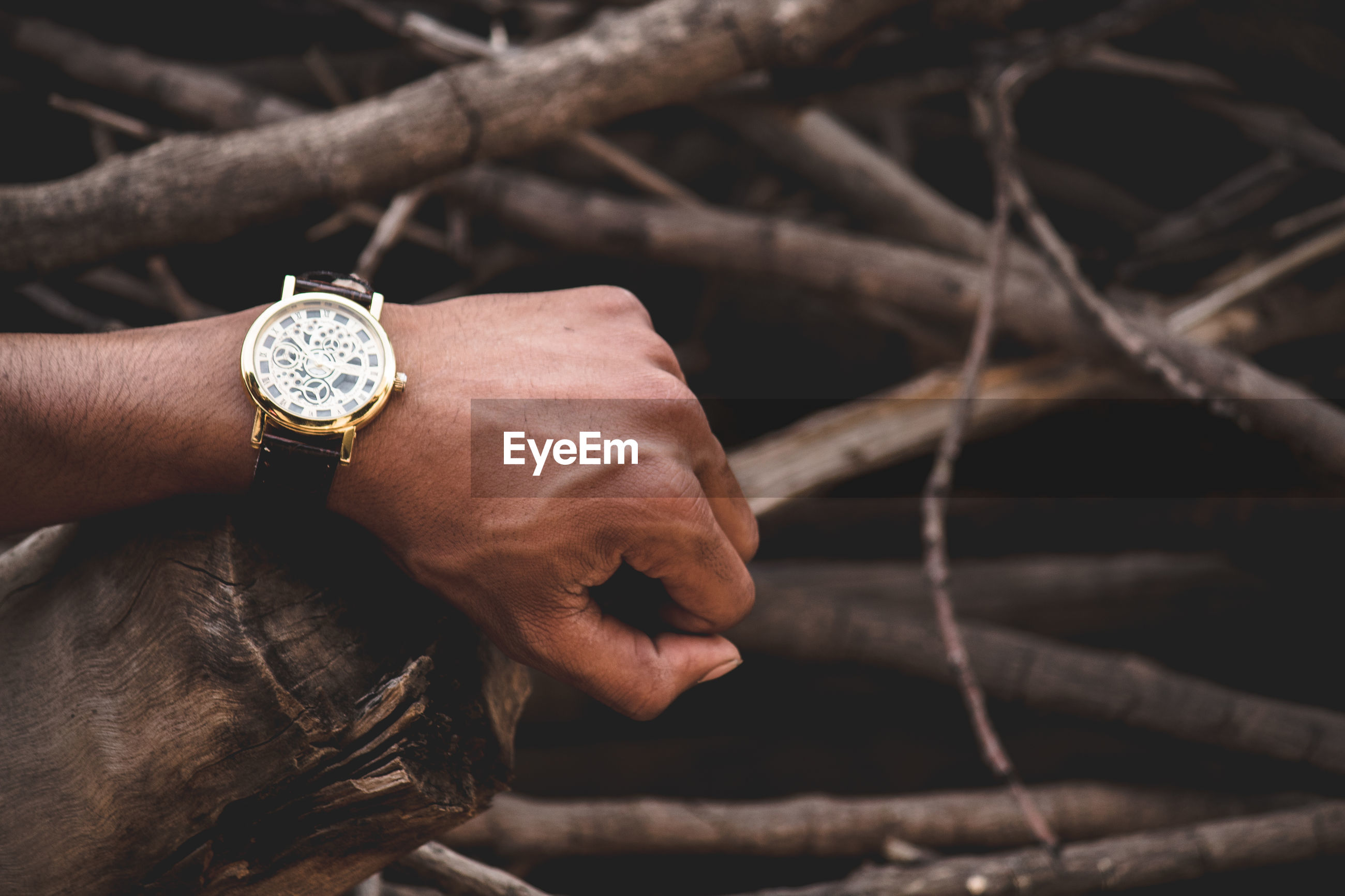 Close-up of man hand wearing wristwatch on wood