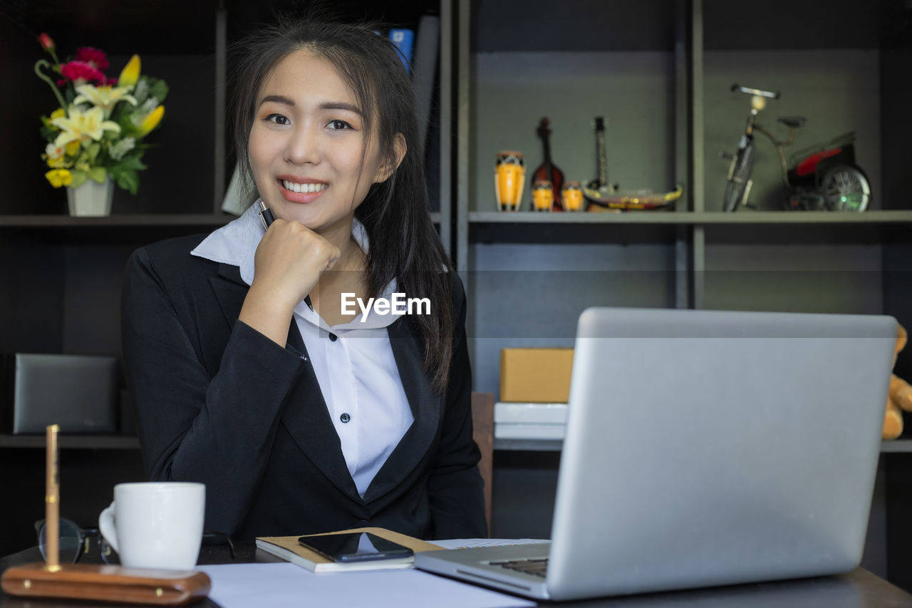 Businesswoman working at office
