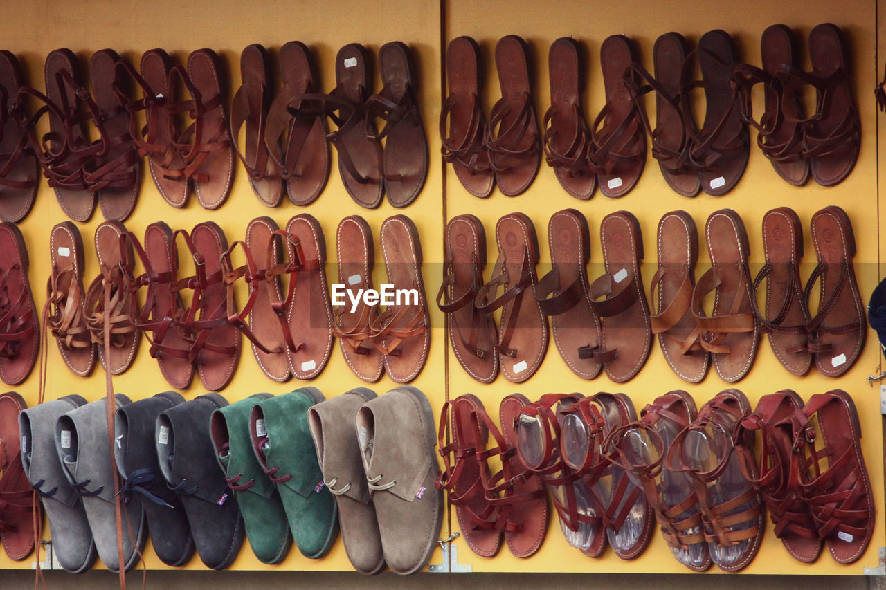 Leather shoes for sale at market stall