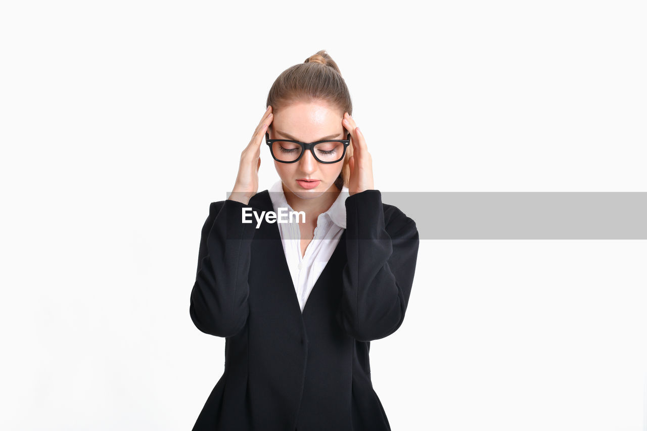 front view, studio shot, white background, one person, copy space, eyeglasses, business person, businesswoman, standing, indoors, glasses, young women, women, young adult, cut out, business, waist up, adult, beautiful woman, hairstyle
