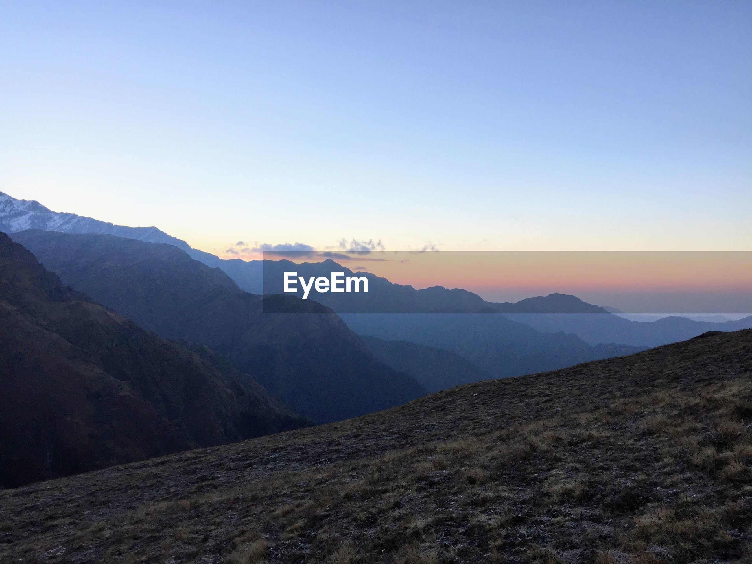 SCENIC VIEW OF LANDSCAPE AGAINST CLEAR SKY DURING SUNSET