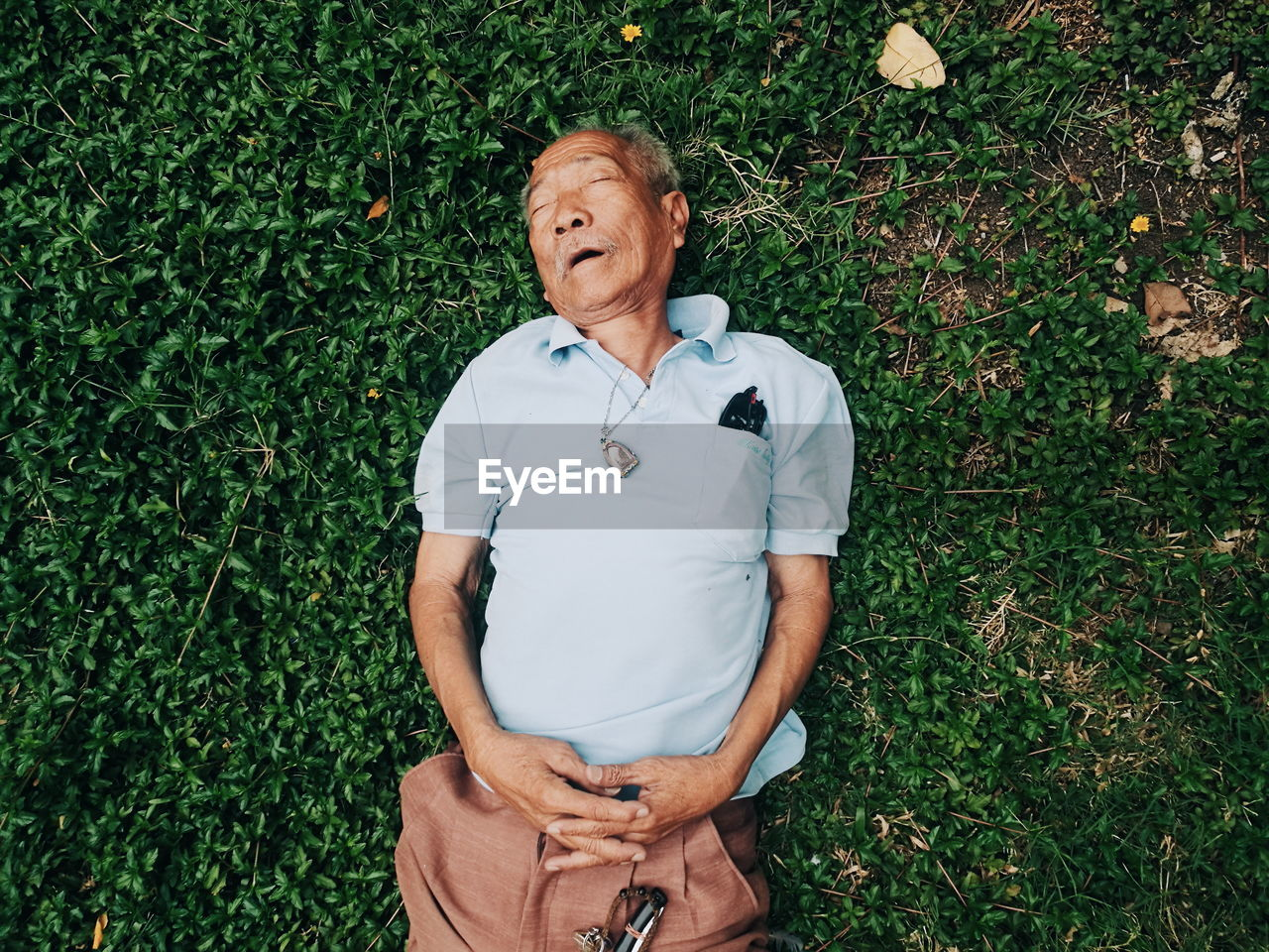 High Angle View Of Senior Man Sleeping In Lawn