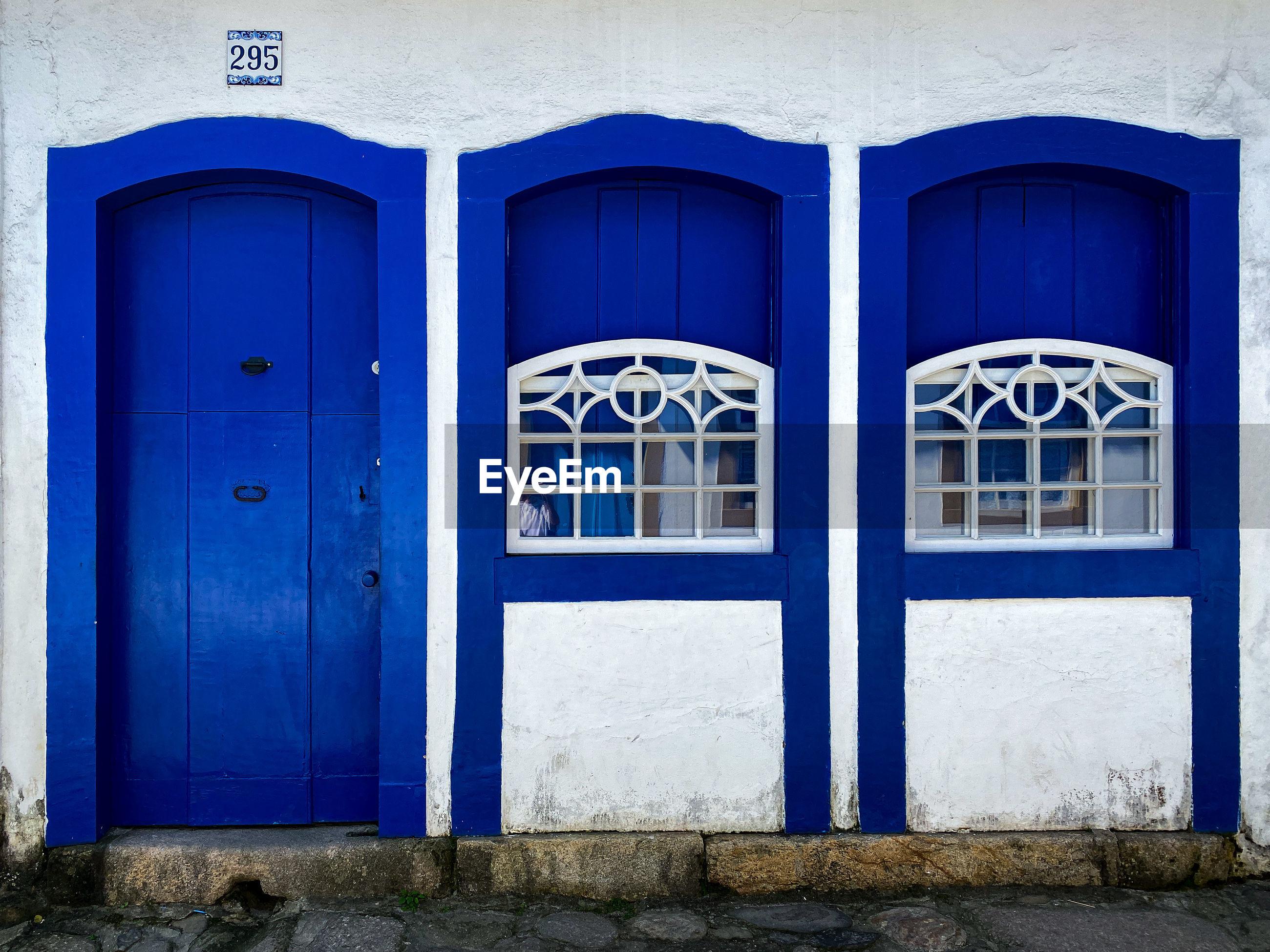 BLUE DOOR OF BUILDING