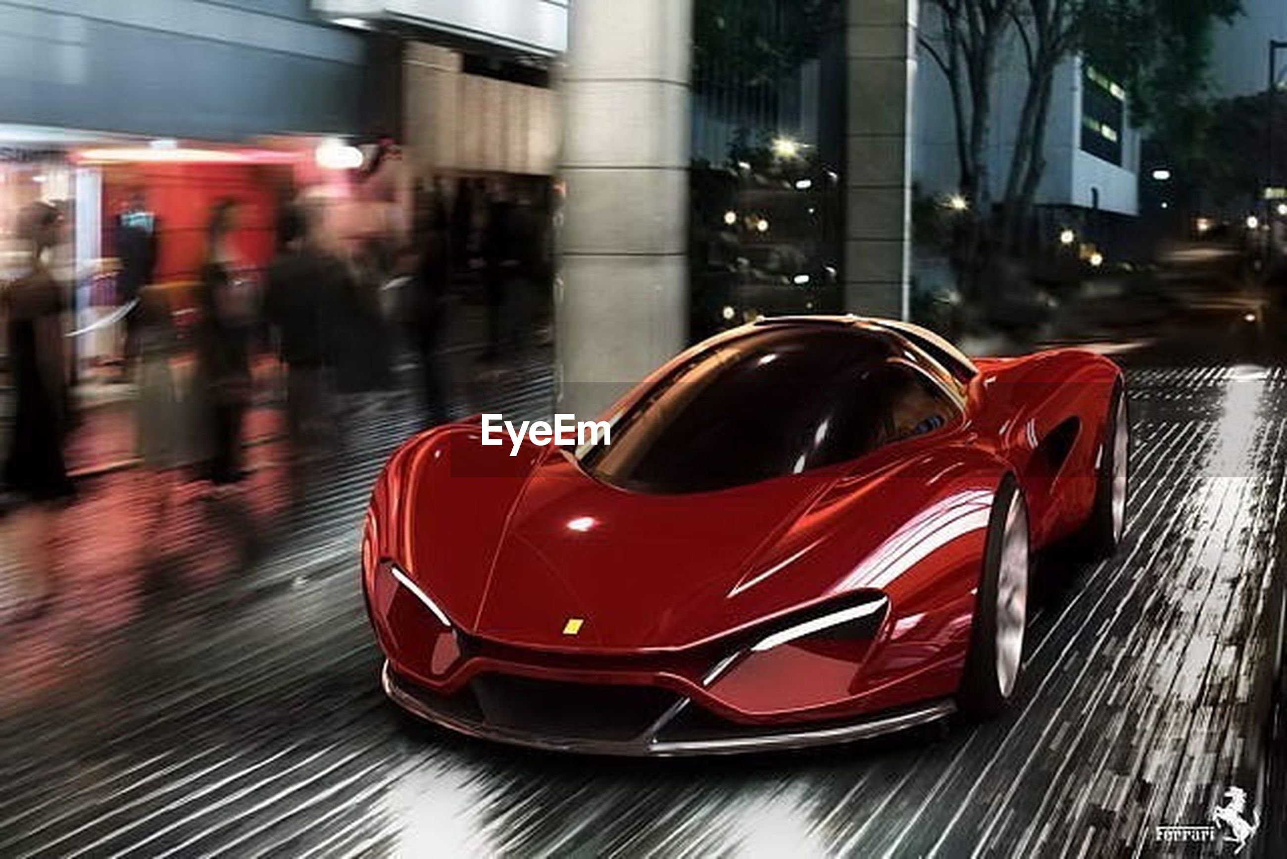 red, transportation, city, car, street, building exterior, land vehicle, illuminated, mode of transport, focus on foreground, reflection, built structure, architecture, night, glass - material, incidental people, city life, close-up, city street, road