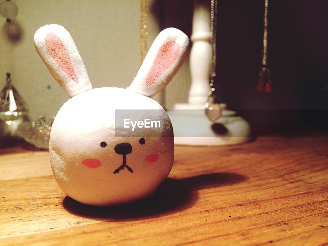 Close-Up Of Rabbit Toy On Hardwood Floor