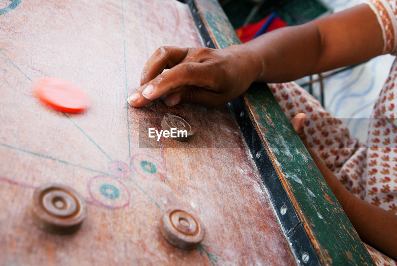 Detail Shot Of Playing Carom Board