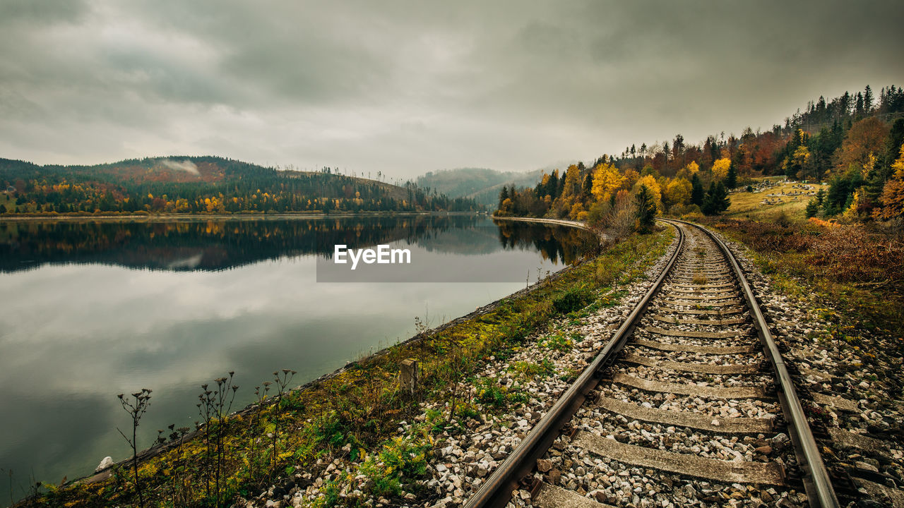 VIEW OF RAILROAD TRACKS BY LAKE