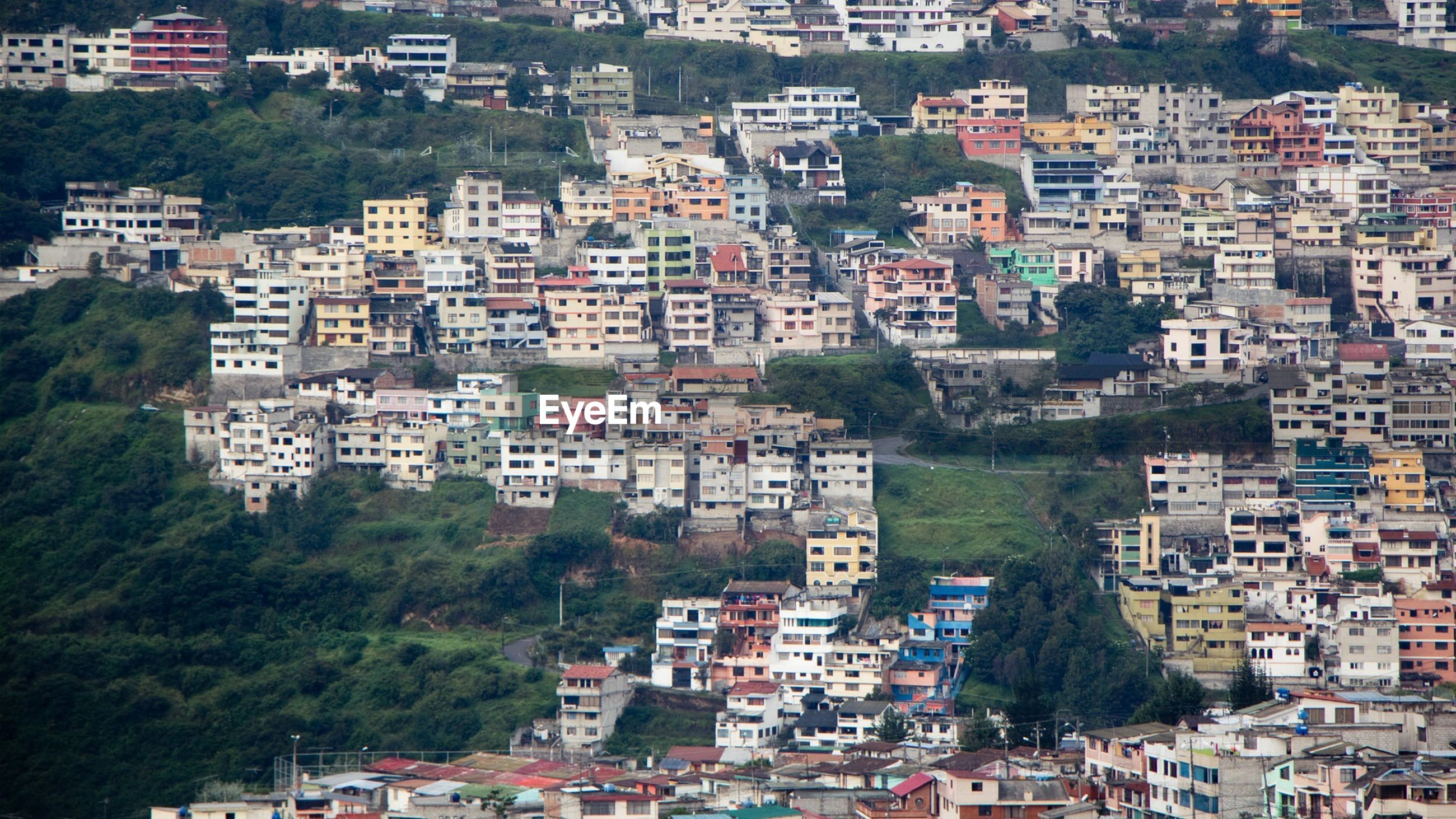 High angle view of residential district