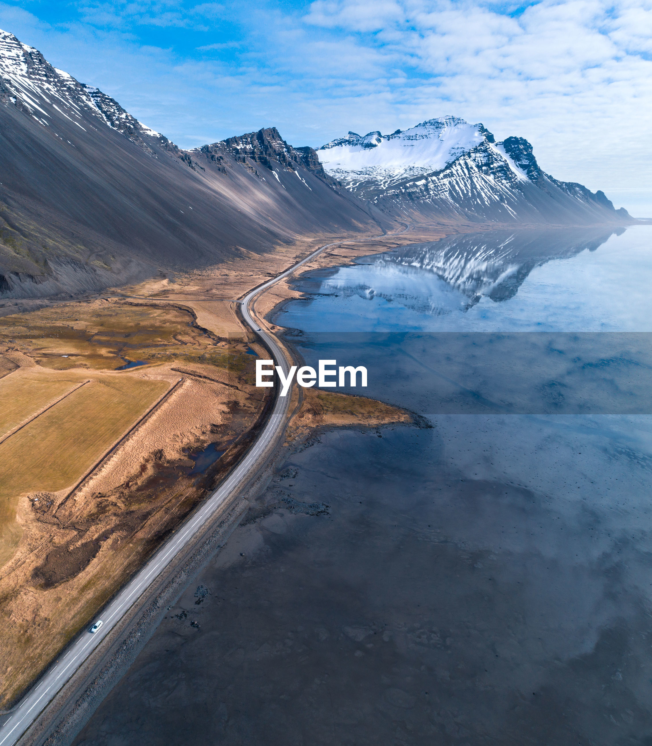 Aerial view of landscape against sky in iceland