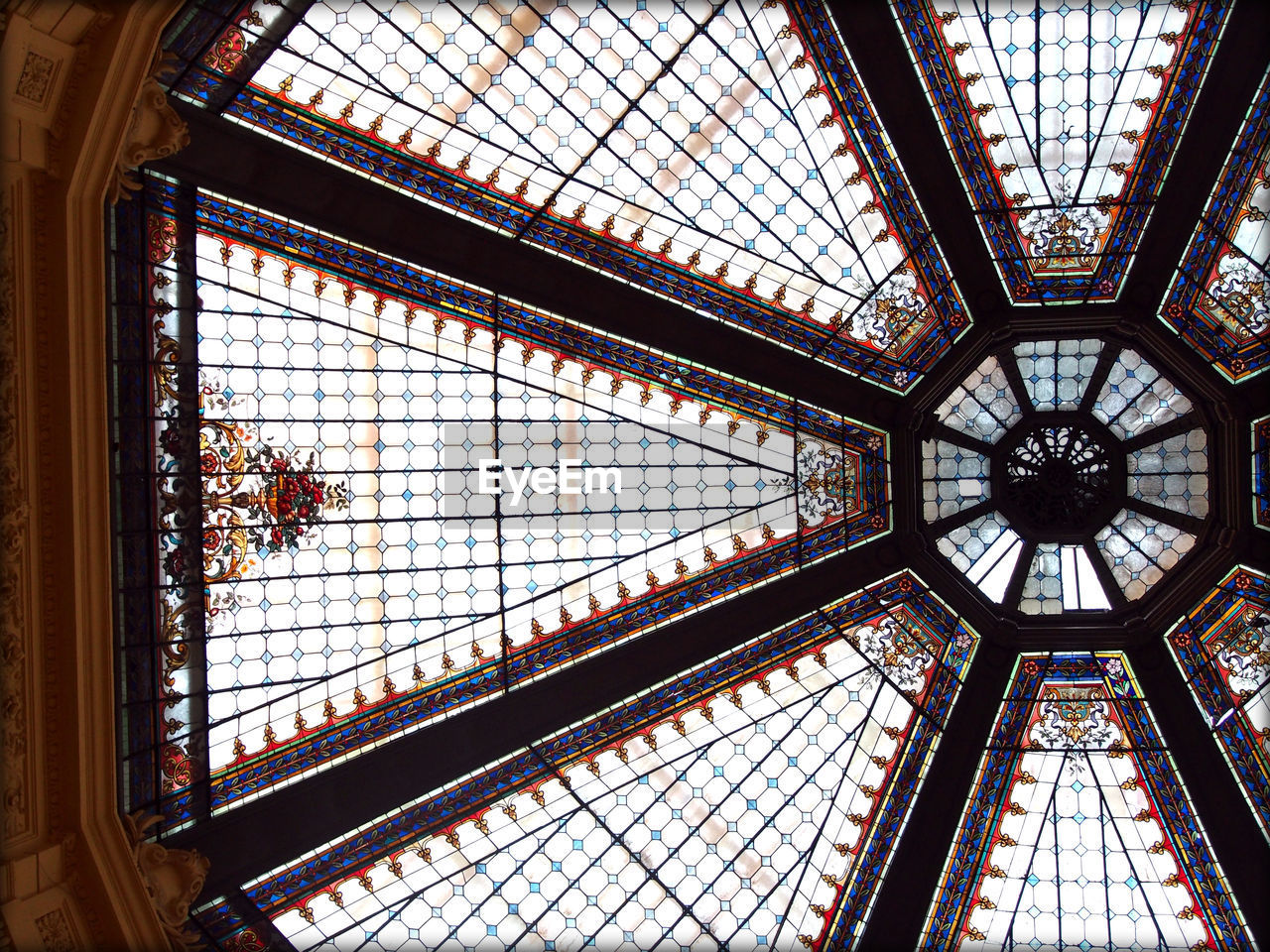 Directly Below Shot Of Glass Ceiling