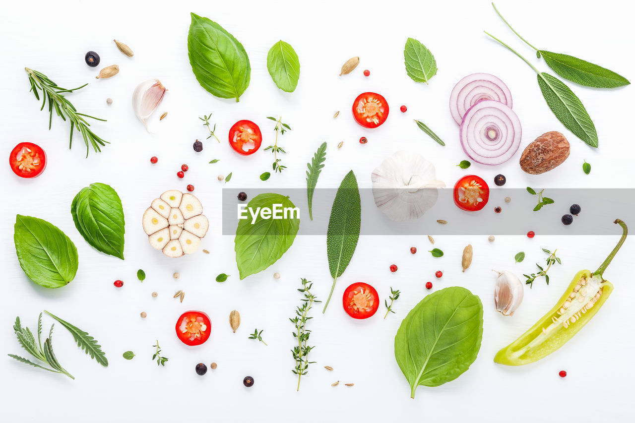 Close-up of ingredients over white background