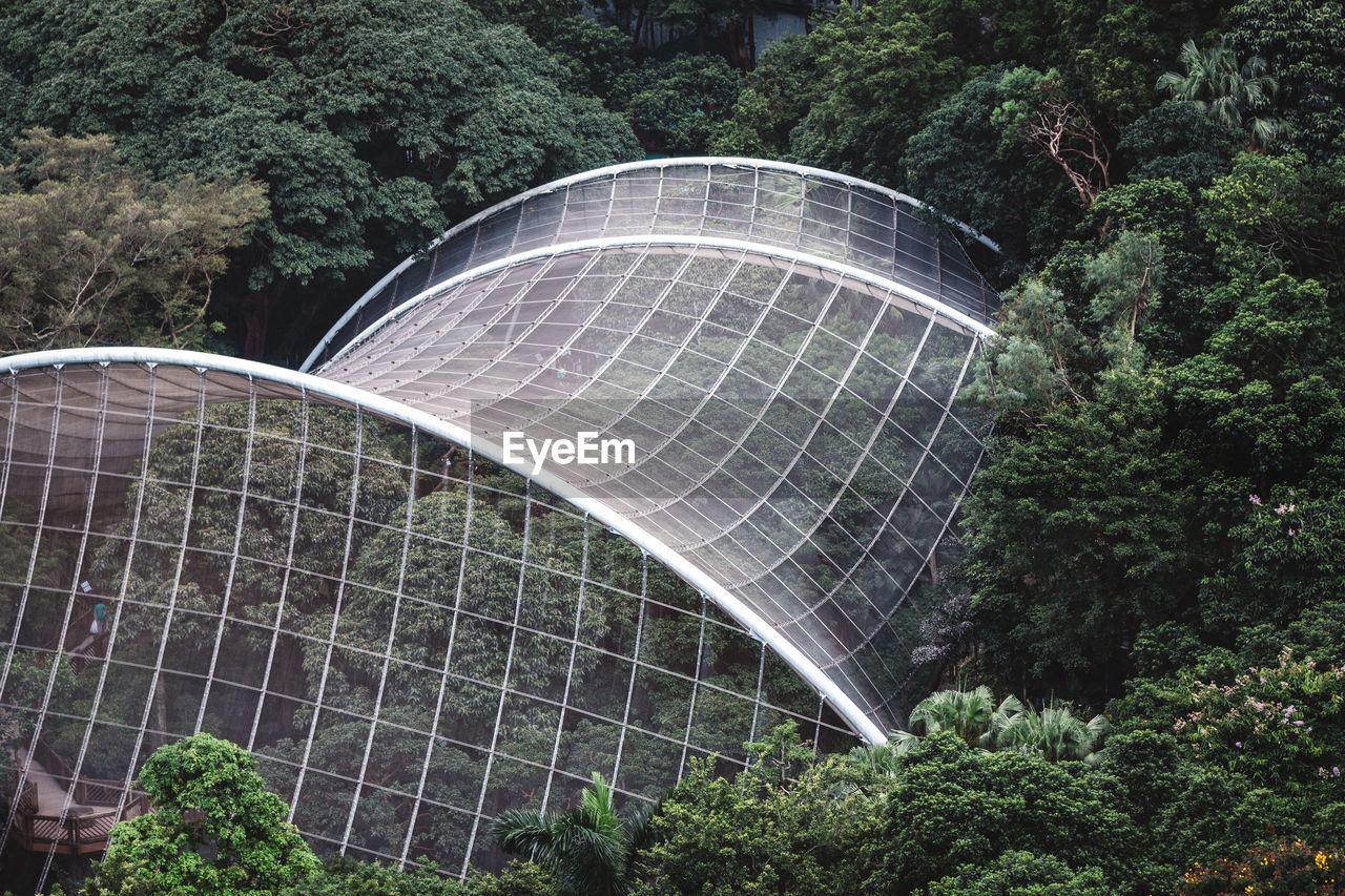 High Angle View Of Greenhouse In Rainforest