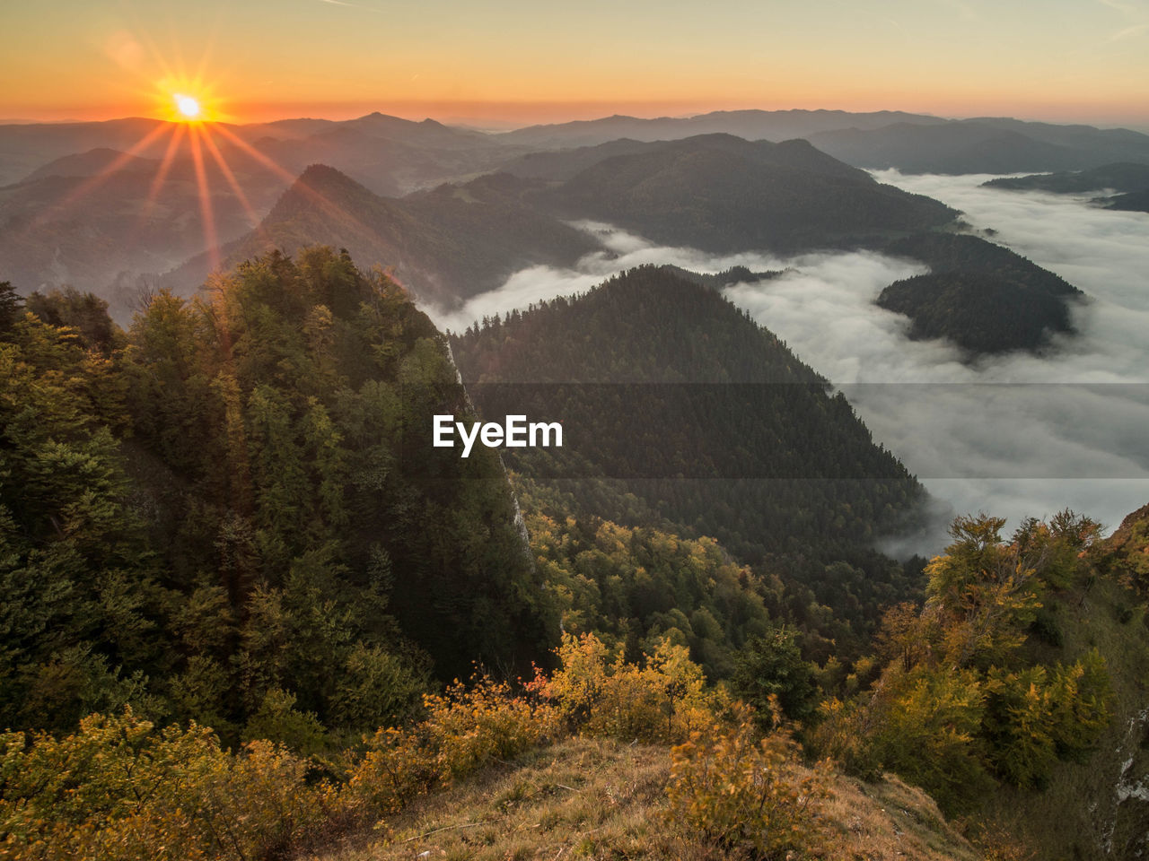 scenics - nature, beauty in nature, mountain, tranquil scene, sky, tranquility, plant, tree, nature, sunset, non-urban scene, landscape, environment, no people, cloud - sky, idyllic, mountain range, sun, high angle view, sunlight, outdoors, lens flare