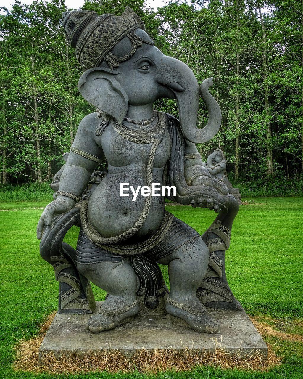Ganesha statue on field