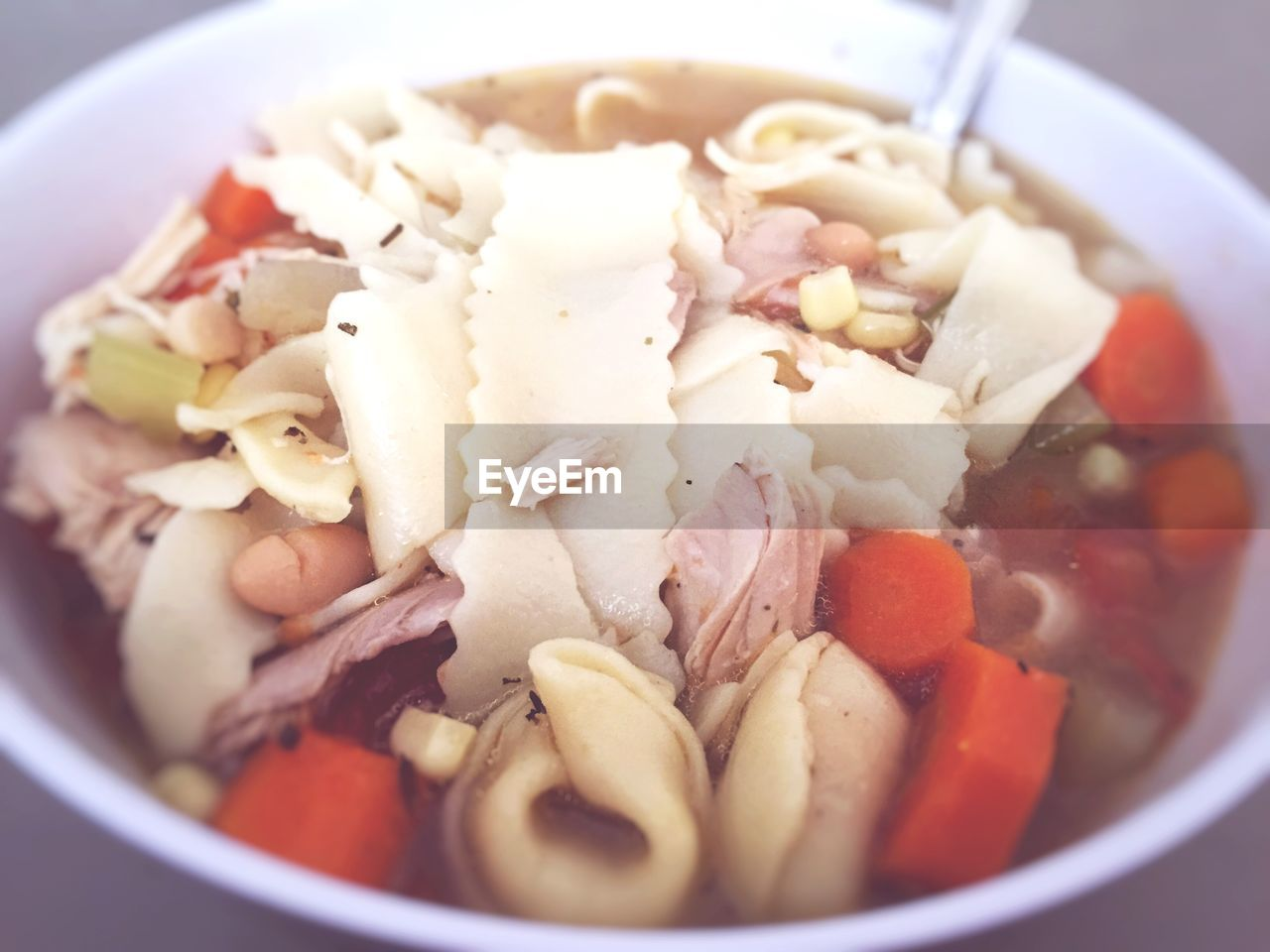 Close-up of vegetable soup served in bowl