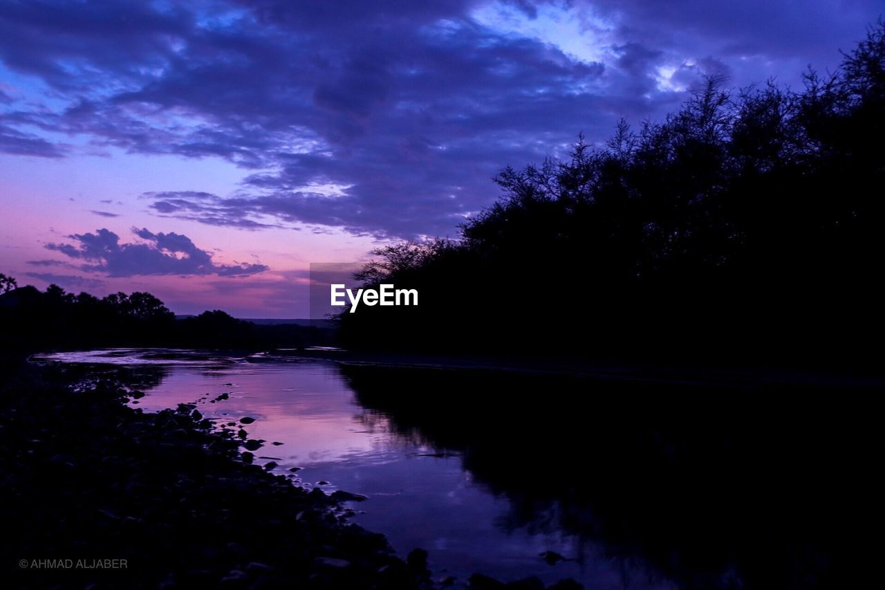 water, sky, tree, cloud - sky, reflection, plant, tranquility, beauty in nature, scenics - nature, tranquil scene, lake, sunset, silhouette, nature, no people, non-urban scene, idyllic, dusk, growth, outdoors, purple