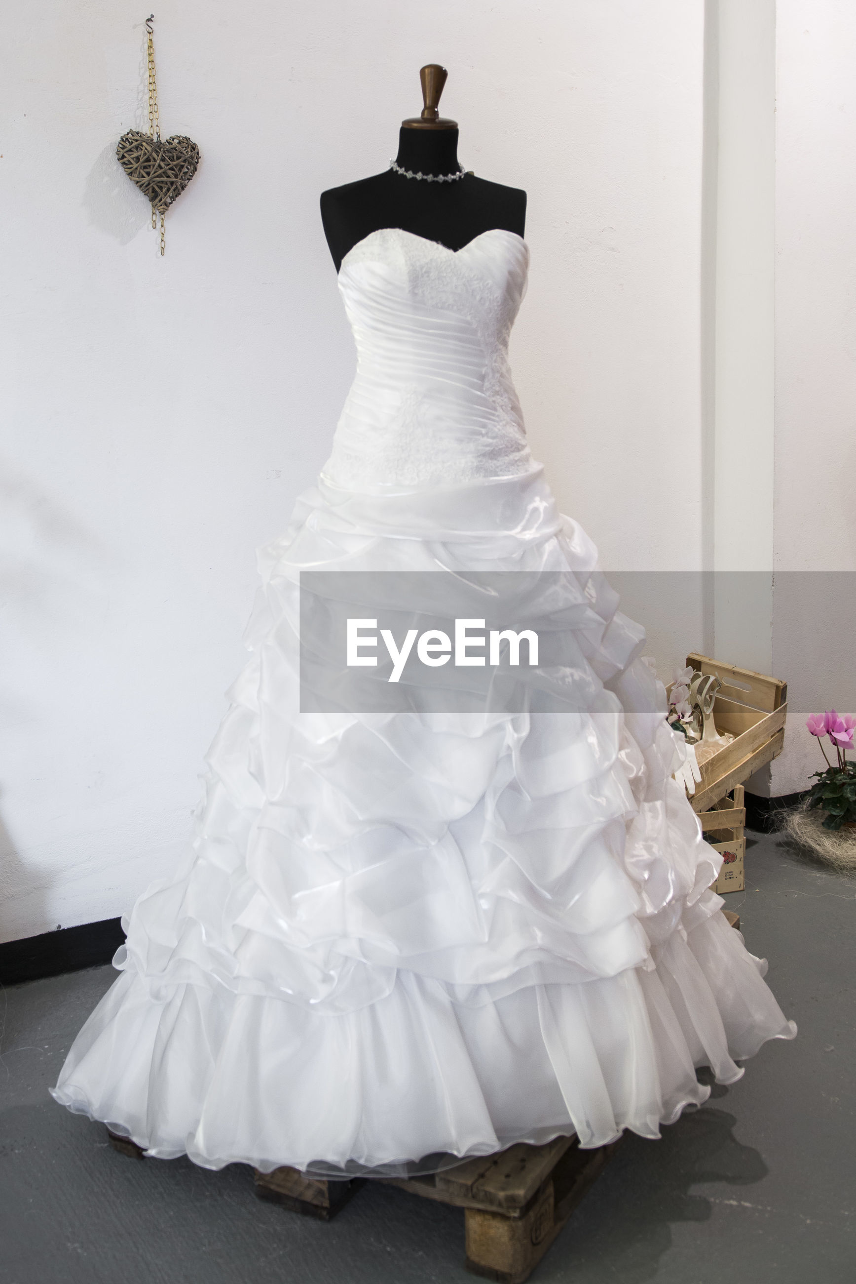 Wedding dress on mannequin in store