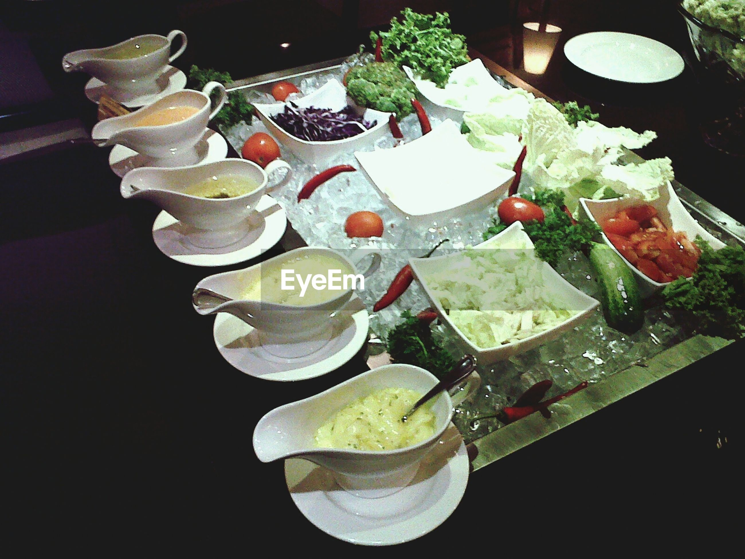 indoors, freshness, table, high angle view, still life, variation, food and drink, arrangement, food, flower, no people, close-up, large group of objects, plate, water, decoration, green color, in a row, healthy eating, choice