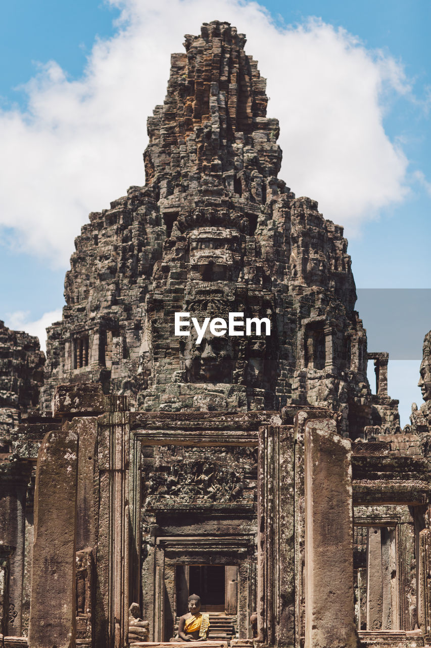 built structure, architecture, history, the past, building exterior, sky, religion, ancient, building, place of worship, belief, ancient civilization, travel, spirituality, tourism, travel destinations, low angle view, cloud - sky, old ruin, no people, archaeology, outdoors, ornate, ruined