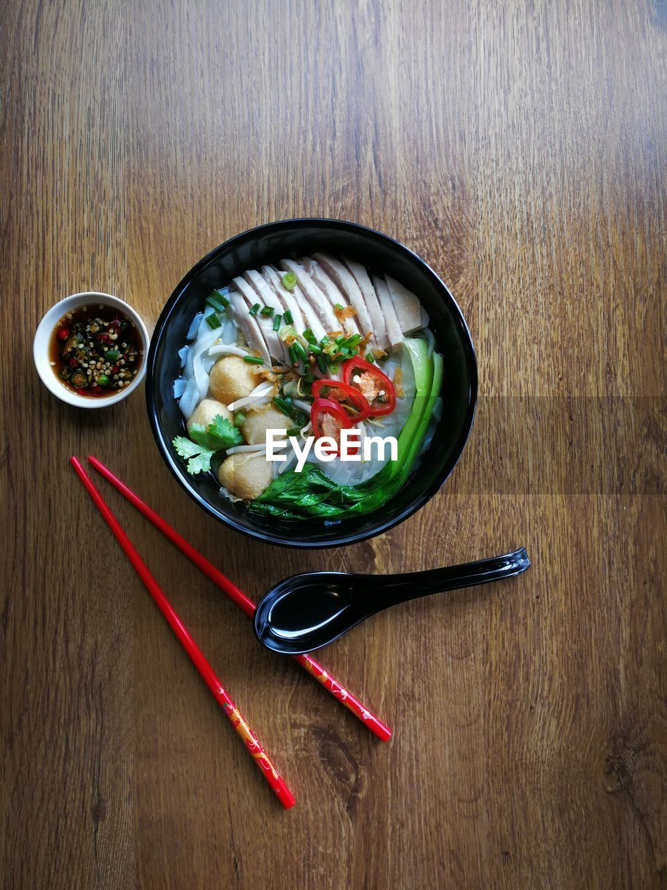food and drink, food, chopsticks, bowl, vegetable, healthy eating, wellbeing, directly above, indoors, asian food, wood - material, no people, table, japanese food, high angle view, freshness, spice, close-up, soup, chili pepper