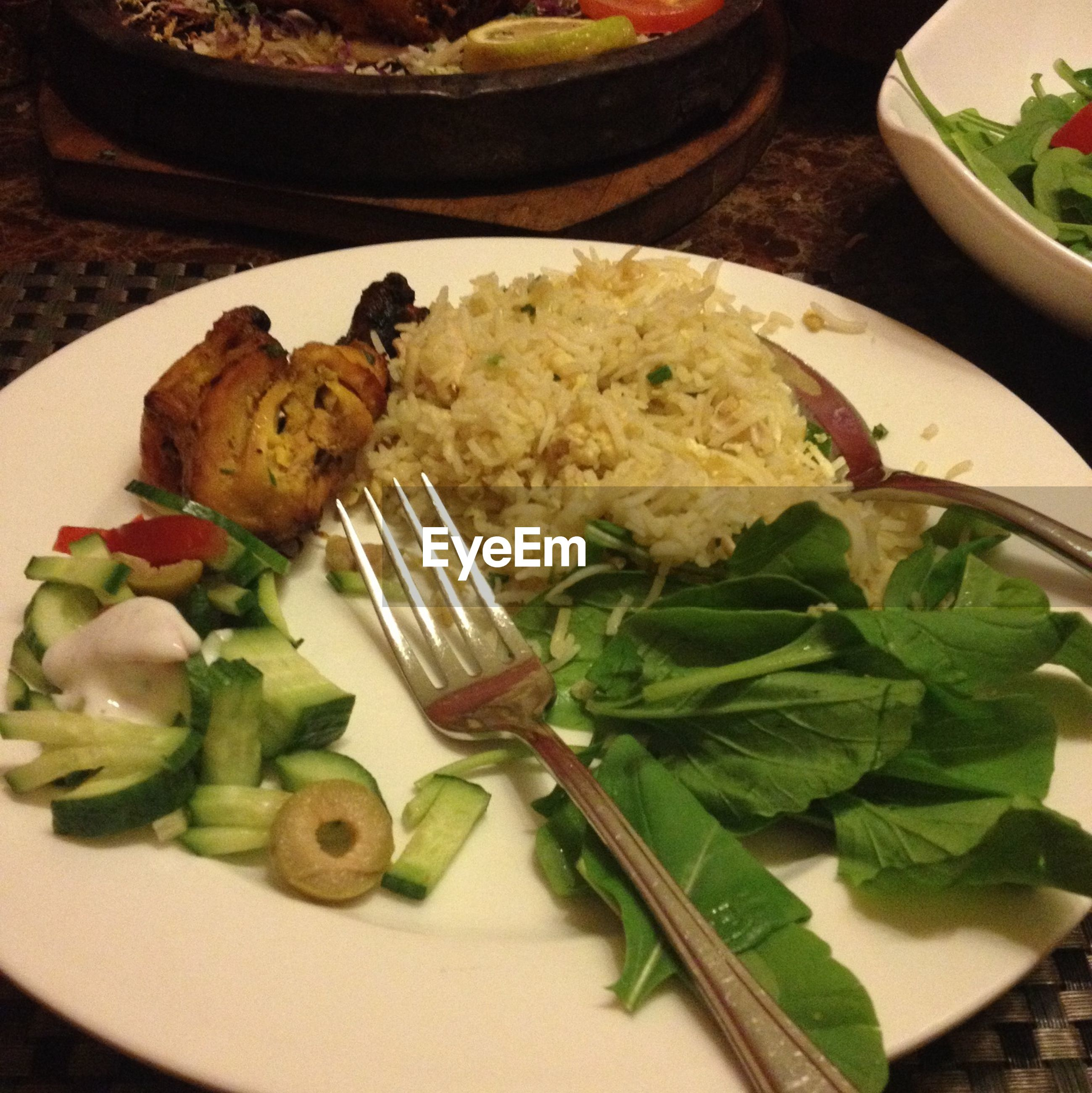 food and drink, food, indoors, plate, freshness, ready-to-eat, healthy eating, table, meal, serving size, vegetable, still life, salad, high angle view, meat, close-up, served, seafood, bowl, indulgence