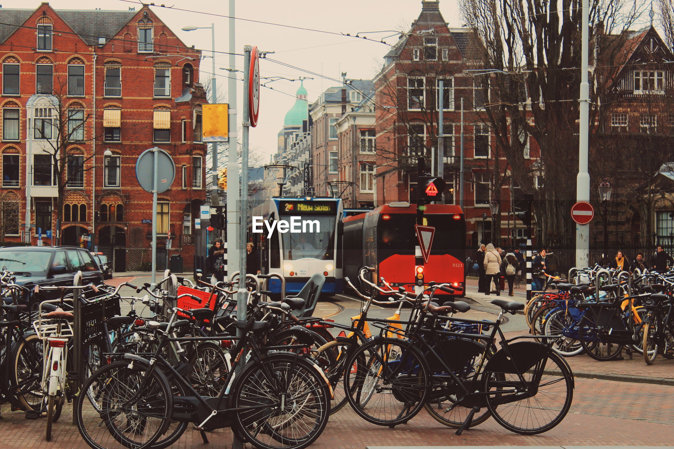 Bicycles in city