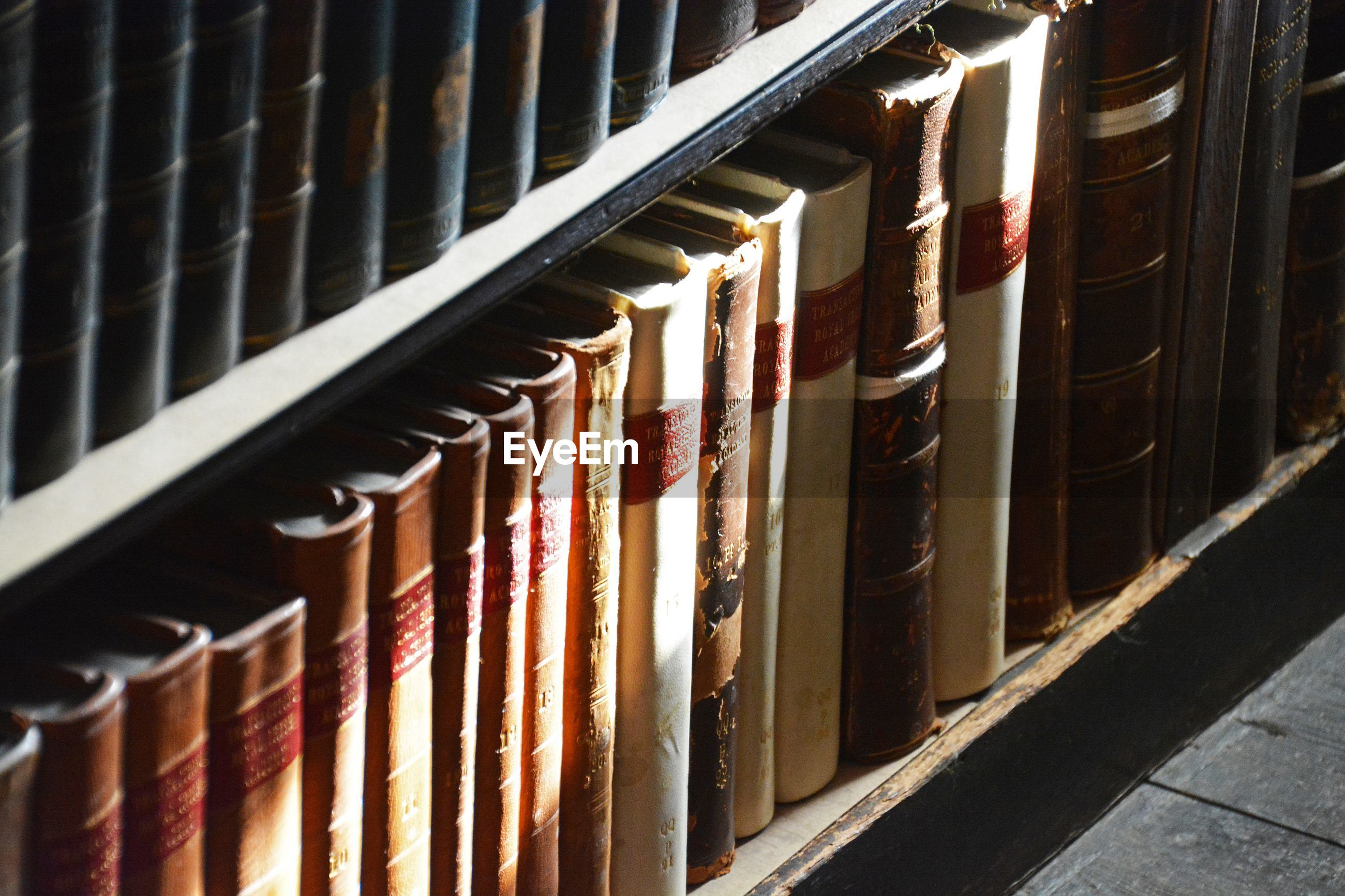 High angle view of old books in library
