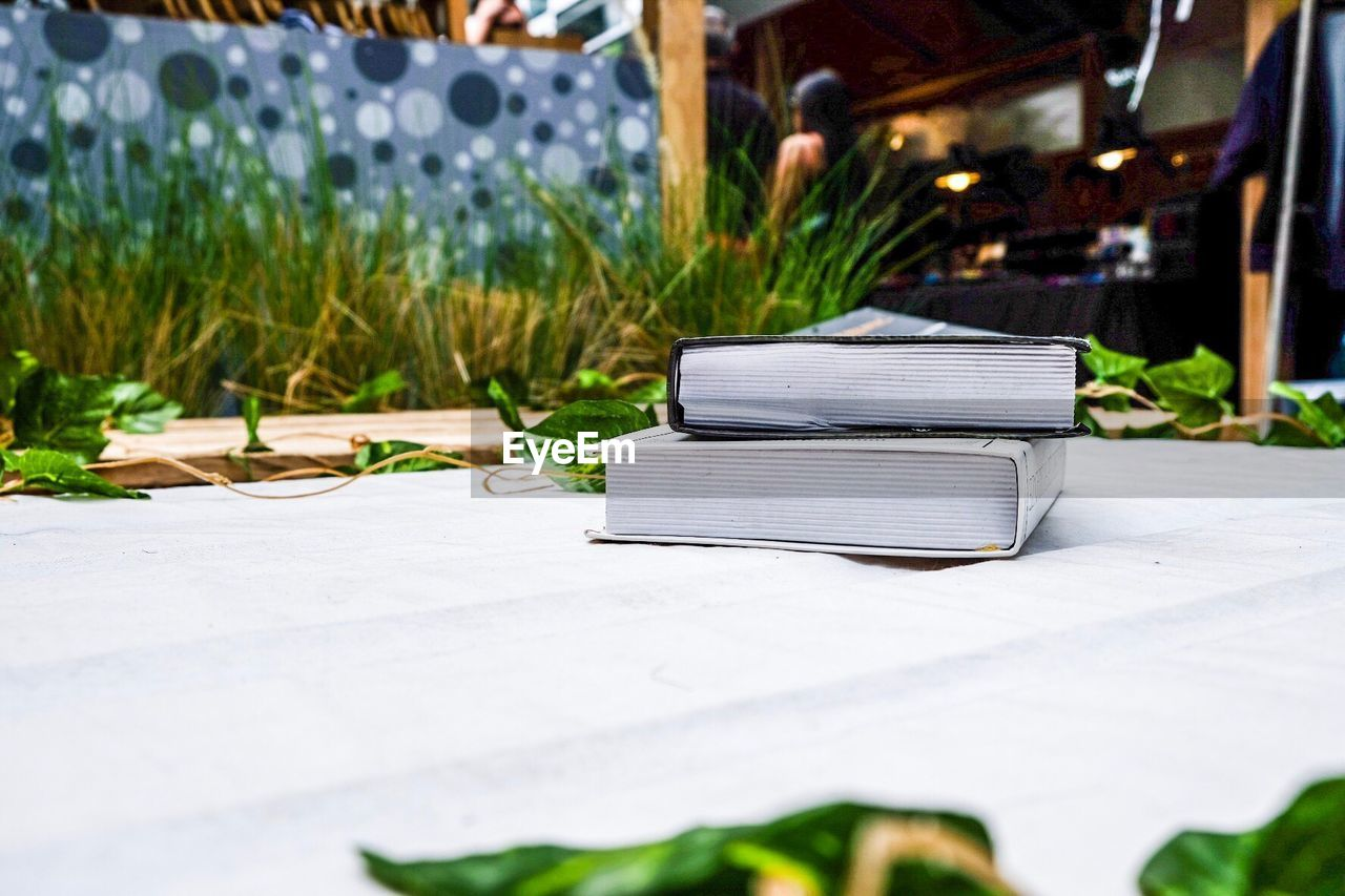Stacked Books On Table By Leaves
