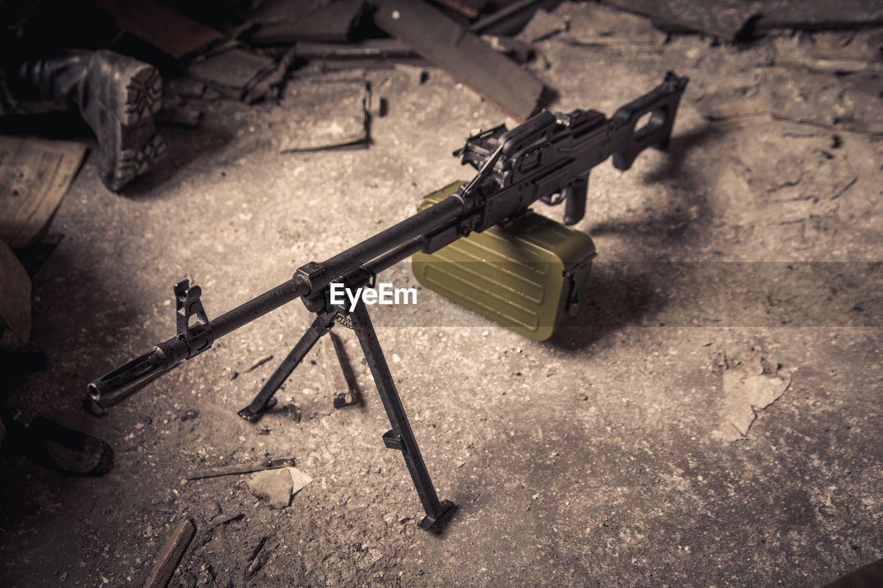 High angle view of gun