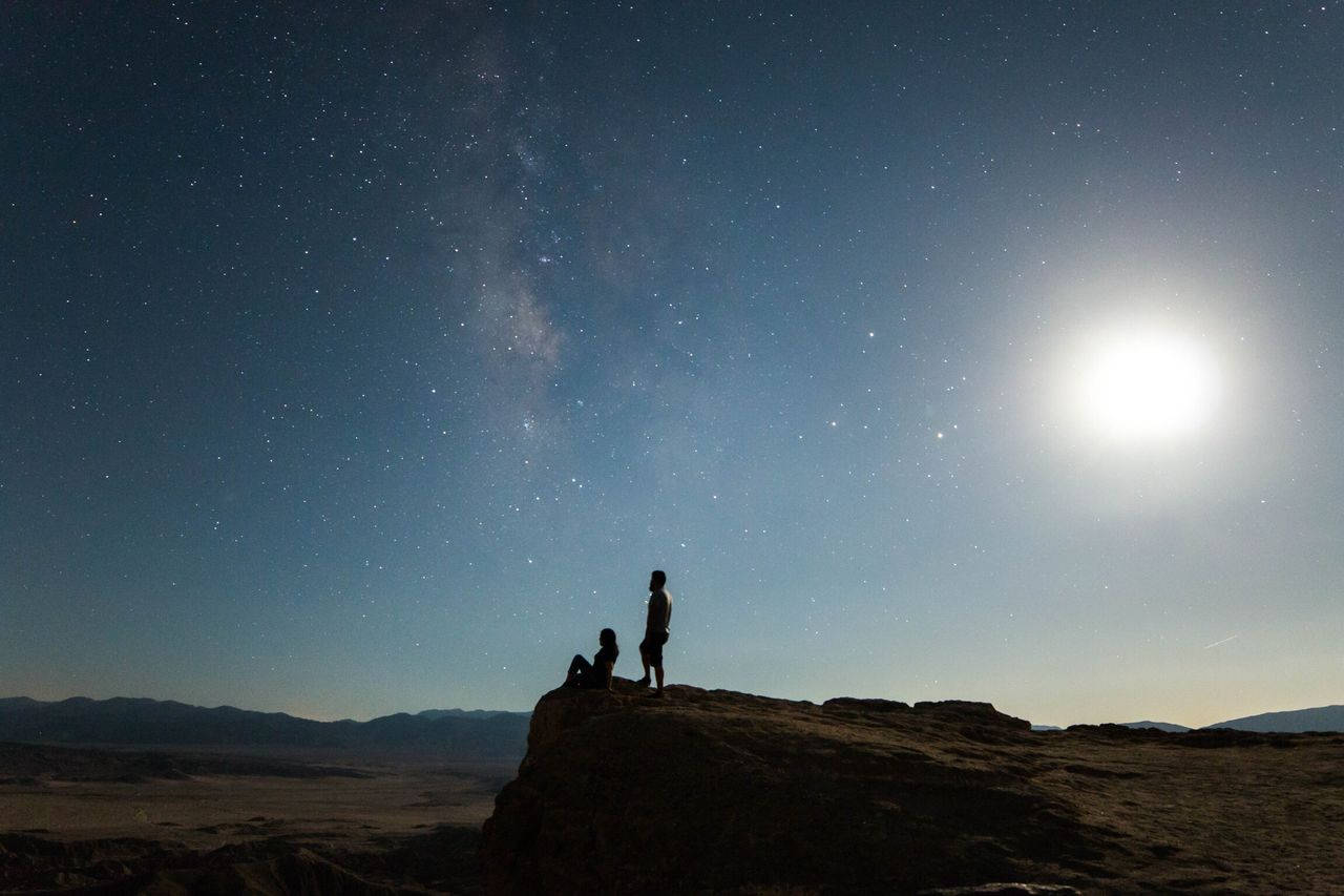 LOW ANGLE VIEW OF SILHOUETTE  Of A Couple AGAINST SKY AT NIGHT