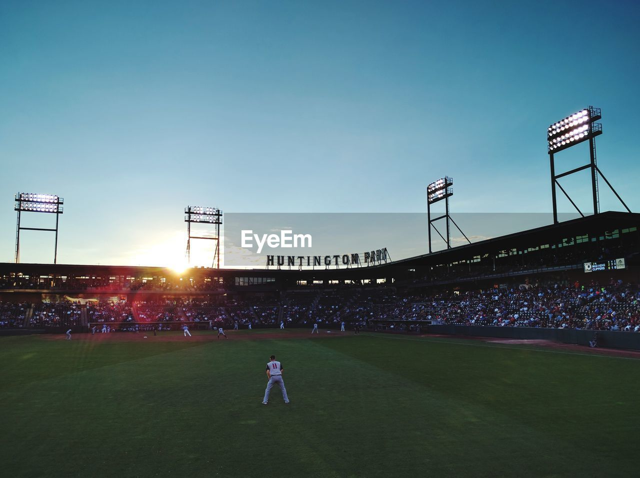 sport, playing, men, leisure activity, stadium, real people, grass, large group of people, playing field, spectator, sportsman, baseball - sport, green color, lifestyles, outdoors, audience, soccer field, women, fan - enthusiast, crowd, sky, sports uniform, illuminated, match - sport, night, people, adult