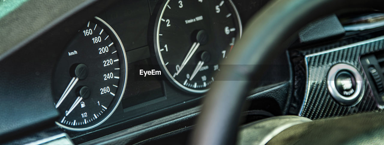 CLOSE-UP OF VINTAGE CAR INTERIOR OF BUS