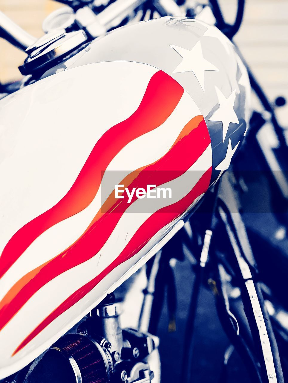 Close-up of flag painted on motorcycle